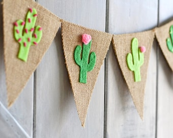 Cactus Banner - Cactus Decor - Cactus Party - Felt Cactus Garland - Cactus Baby Shower - Summer Banner, Fiesta Party Decorations, Taco Party