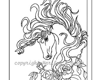 ADULT COLORING PAGE, digital download, Unicorn, roses, garden, fantasy, coloring,