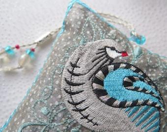 PARTRIDGE, Embroidered, Lavender Sachet, Blue, Winter, Snow, Silver, White, Gift, Bird, Scented, Home gift, Original design, Pauline Thomas