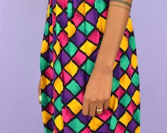 Vintage Color Block Print Skirt