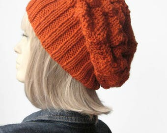 Orange Slouchy Hat, Vegan Knits, Pumpkin Knit Hat, Beanie Hat, Gifts For Her, Slouchy Beanie