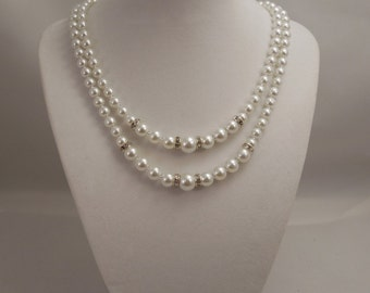 Very Cute, Fancy and Classic, Two Strand Embossing Look, Choker Stylwe White Glass Pearl Necklace with Shiny Cubic Spacer