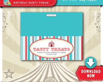 Circus Treat Bag Toppers   Circus Themed Birthday Party   Printable   Invitation & Party Package Available   Instant Download