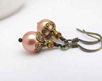 Crystal Pearl Earrings Rosaline Peach Antiqued Brass, Victorian Style Dangle Drop, Swarovski Crystal Affordable Wedding Bridal Bridesmaid
