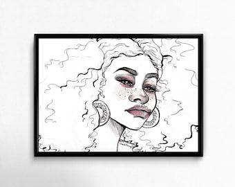Natural Hair Art | Black Girl Magic | African American Art