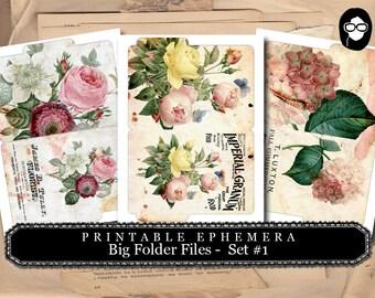 Altered Art Kit - Big Folder Files Set #1 - 3 Page Instant Download - floral clipart, smash journal kit, journaling cards, journal cards