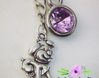 Year of the Dog Birthstone Charm Necklace Custom Handmade with optional initial