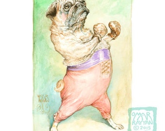 Pug-ilist (print) pug dog boxer athlete pugilist artwork gym workout illustration