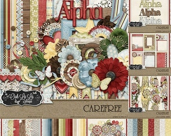 On Sale 50% Carefree  Digital Scrapbooking Kit Collection, Summer, Spring, Country, Bundle