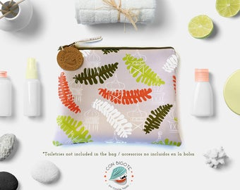 Elegant Gray Travel Bag with Fern Pattern. Cosmetic zip clutch with exotic pattern. Toiletry organizer pouch for travel. Gifts for teachers.