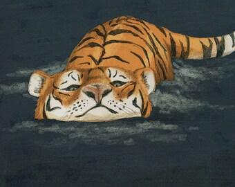 Swimming Tiger Art Print - Animal Art, Wall Art, Tiger Drawing, Big Cats, Cat Art, Tiger lover gift, nursery art print, housewarming gift