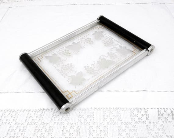 Antique Art Deco Glass Tray with Wooden Handles Gilt Banding and Decorated Vine Leaves and Grape Pattern, Retro Vanity Boudoir Accessory