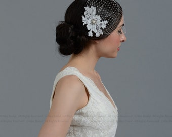 Wedding Veil - Ivory blusher birdcage veil with alencon lace