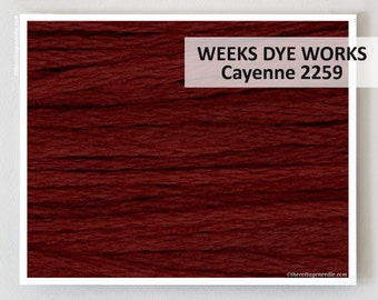 CAYENNE 2259 Weeks Dye Works WDW hand-dyed embroidery floss cross stitch thread at thecottageneedle.com