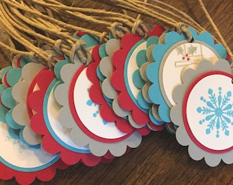 snowman tags, holiday tags, winter party tags, snowflake tags, hot chocolate bar labels - set of 12