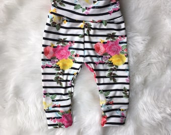Girl baby leggings/ black stripes with colorful floralleggings/cuff leggings/ spring leggings