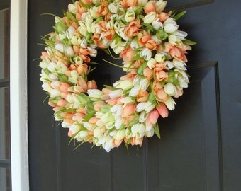 SUMMER WREATH SALE Custom Tulip Spring Wreath- Spring Decor- Spring Tulip Wreath, Custom Sizes- Summer Wreath- The Original Tulip Wreath