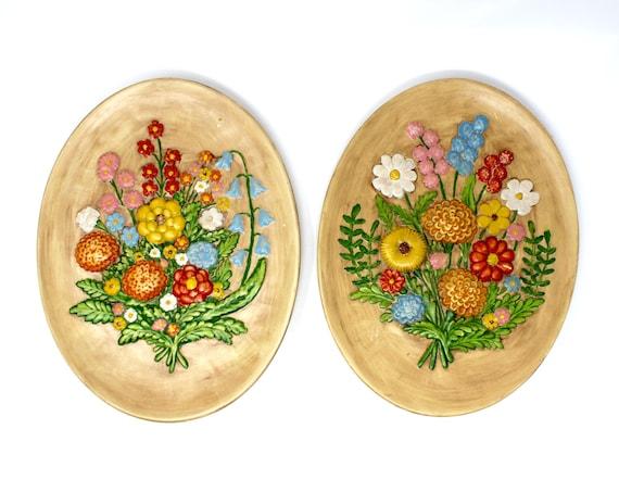 Pair of Vintage Floral Chalkware Ceramic Wall Hangings Mid