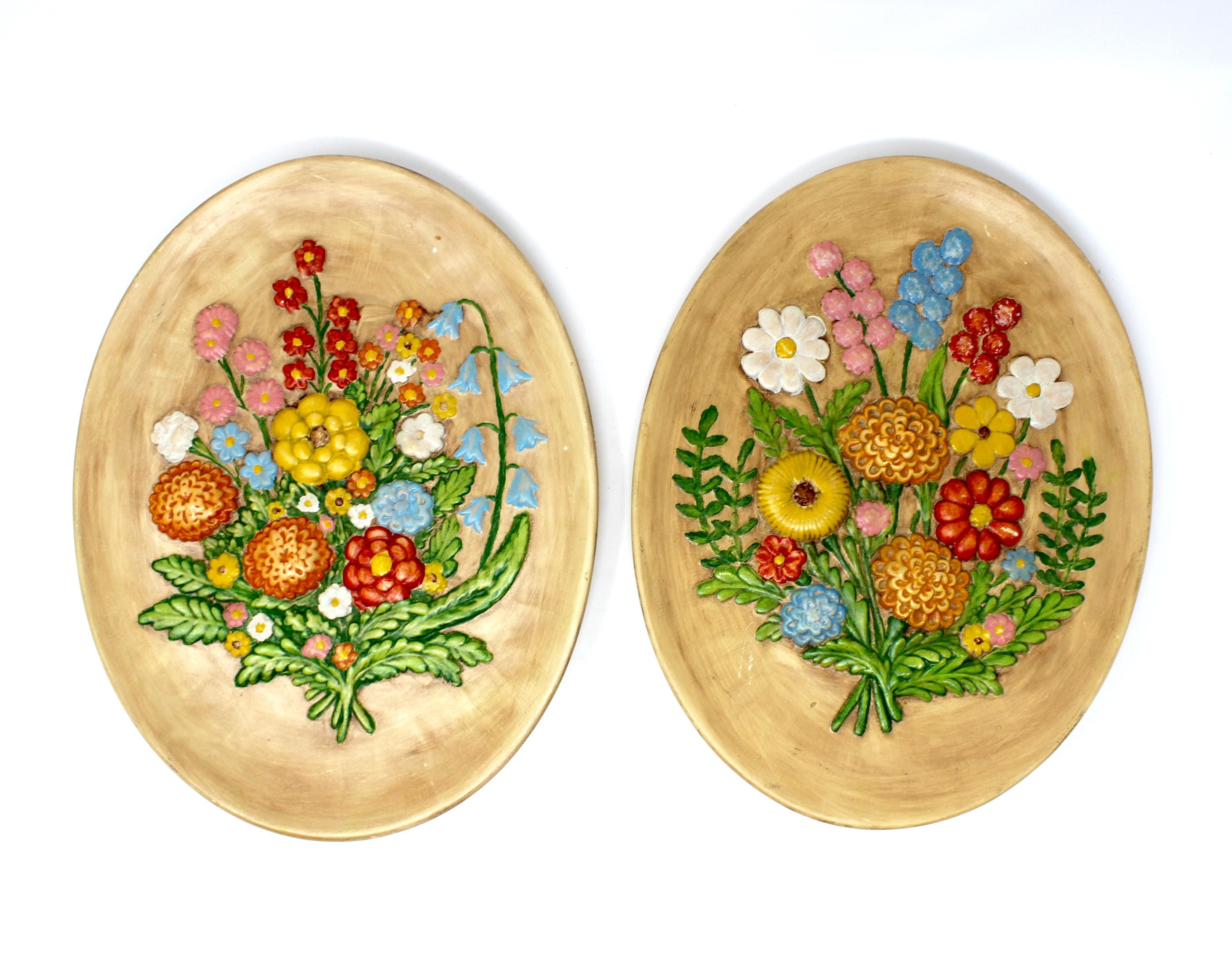 Pair of Vintage Floral Chalkware Ceramic Wall Hangings Mid