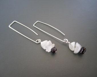 Moonstone and Garnet Gemstone Earrings