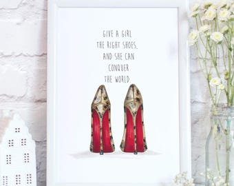 Leopard High Heel Inspirational Quote Print Unframed