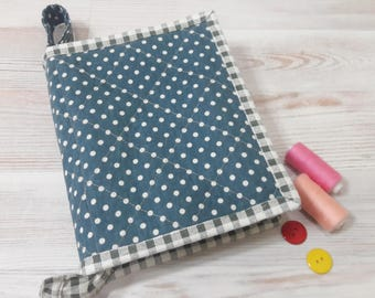 Linen folder case Blue polka dot zipper organizer Quilted sewing box Linen clutch Medium storage case Sewing project bag Thread organizer