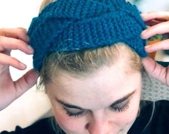 Knit a braided headband scandinavian style   Chunky garter stitch cable knit   The Icy Blue Twirl Headband   KNITTING PATTERN
