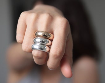 POWER RING wide solid sterling silver statement jewelry. Bold Graphic design by jac and hugo