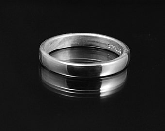 3mm Silver Wedding Band Rounded wedding Band -- Simple Wedding Ring -- silver Stacking Ring- Simple Elegant Thin Stackers Comfort fit