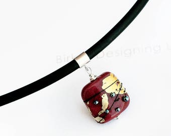 Murano Glass Necklace  - Lampwork Pendant - Glass Necklace - Necklace - Murano Glass Pendant - Red Pendant - Gold Pendant