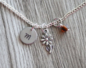 Daisy Flower Necklace,  Personalized Initial Necklace, Birthstone Charm, Customized Necklace, Flower Daisy Necklace Hand Stamped Daisy Gift
