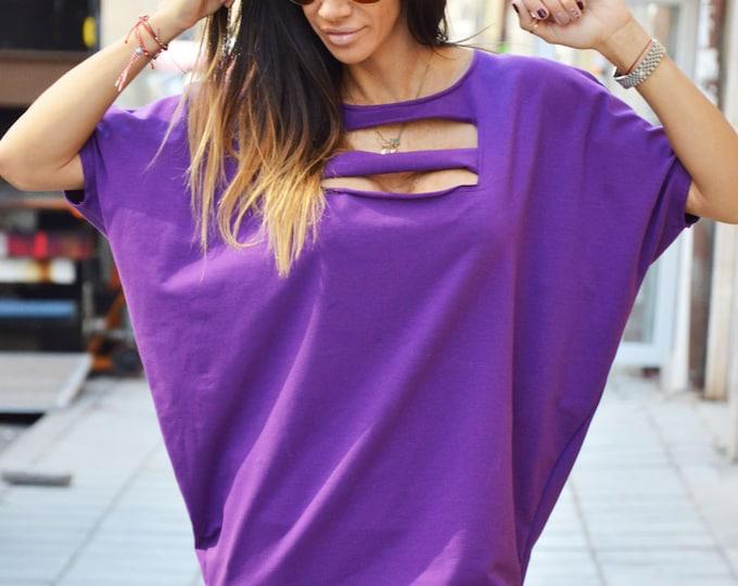 Extravagant Loose Tunic, Plus Sizes Blouse, Fashion Sexy Style Tunic Top, Asymmetrical Maxi Cotton Top by SSDfashion