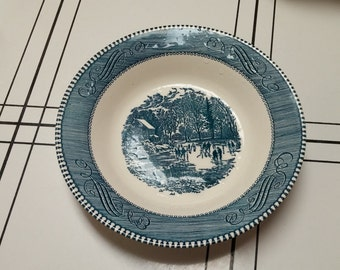 "On Sale Currier and Ives ""Early Winter"" 8.25 inch Soup or Salad Serving Bowl by Royal China"