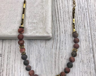 Red Agate and Hematite Long Necklace
