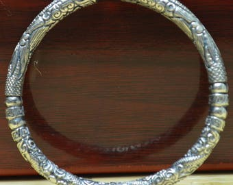 42 Gram Purity 999 Fine Silver Solid HandMade Dragon Bracelet Bangle Size Adjust