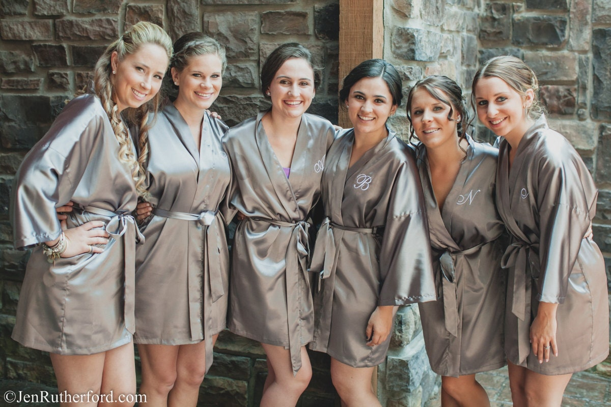 Silk satin bridesmaid robe Grey bridesmaid dressing gown