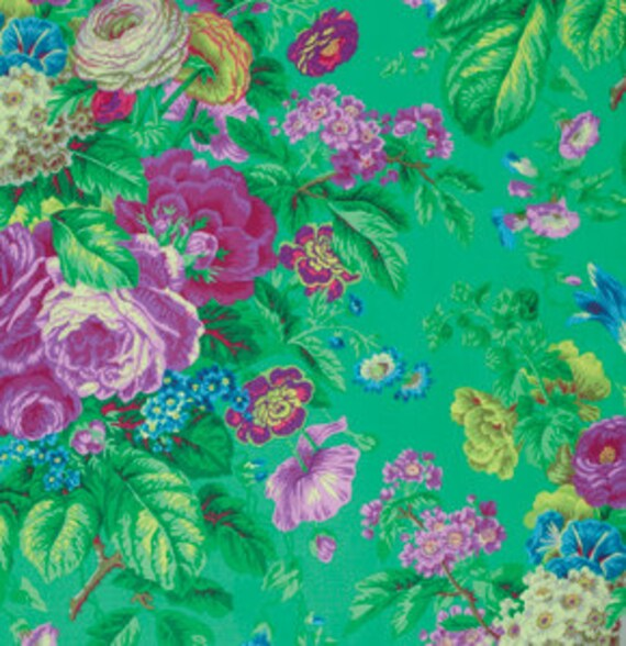 FLORAL DELIGHT GREEN PJ075 by Philip Jacobs for Kaffe Fassett Collective Sold in 1/2 yd increments