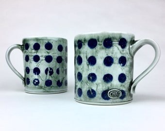 Two Blue dotted mugs