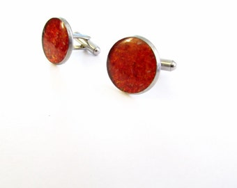 Fire Red Cuff Links, Round Upcycled Glass Cuff Links, red, Men's Cuff links, Glass, Recycled, Gift, Stainless Steel, New Orleans