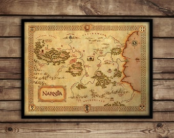 Narnia map - Narnia art print - C S Lewis Fantasy Map - 'Narnia poster - Chronicles of Narnia nursery decor - wall art