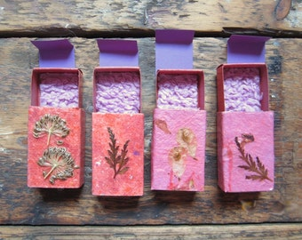 Little gift boxes of handmade paper decorated with nature material. Set of 4.(no.007)