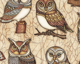 Owl Fabric / Harry Potter Fabric  / Owls on Cream Fabric / Where The Wise Thing / Quilting Treasures 26528 Fabric By The Yard & Fat Quarters