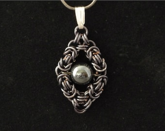 Floating Bead Pendant Hematite Byzantine Chainmaille Necklace metallic dark grey gunmetal snake chain ShadowCutter Jewelry