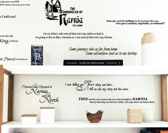 Chronicles of Narnia Quote Collection with Lamp post Snow Scene  - C.S. Lewis Wall Decal Custom Vinyl Art Stickers for Libraries, Classrooms