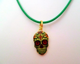 Sugar Skull Charm Necklace, Sugar Skull Charm Jewelry, Sugar Skull Charm Choker, Sugar Skull Jewelry, Sugar Skull Pendant Necklace