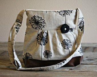 Concealed Carry Purse, Medium Messenger Bag, Black Dandelion, Conceal Carry Handbag, Concealed Carry Purse, Conceal and Carry