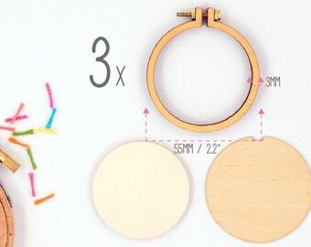 "Dandelyne: 3 Pack of 2.2"" (5.5 cm) Wooden Embroidery Hoops"