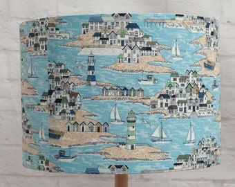 Lampshade beach scene, handmade fabric ceiling/table, 30cm or 20cm, boats, lighthouses, harbour
