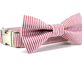 Red Dog Collar | Red and White Striped Seersucker Dog Collar with Metal Buckle and Bow Tie Set | Boy Dog Collar | Wedding Dog Collar