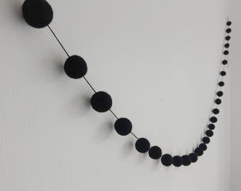 Black Felt Ball Garland / Pom Pom Banner / Monochrome Bunting / Monochrome Decor / Ball Garland / Wool Felt Balls